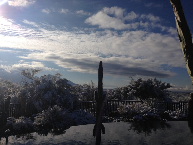 Good morning 2015. Our very snowy view of Tucson this morning... CRAZY!