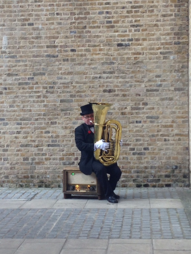 You can't see it in this picture. But this was a fire break tuba man. Amazing!
