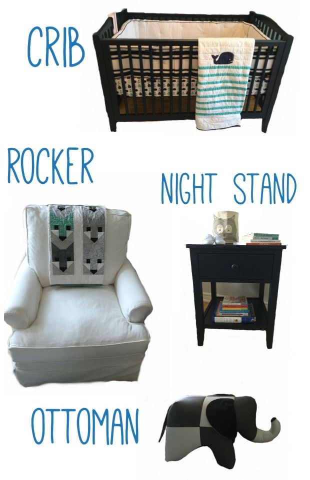 1. Crib - Pottery Barn Kids 2. Rocker - Muskoka Living 3. Night Stand - Pottery Barn Kids 4. Reiner's Elephant Ottoman